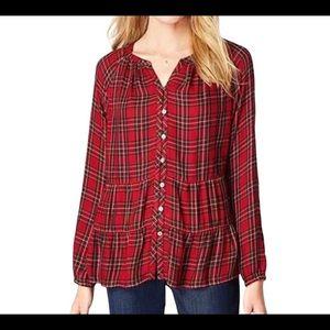 J. JILL Red Plaid Peplum Hem Long Sleeve Blouse XS